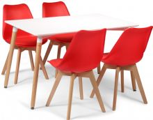 Toulouse Dining Set  - 120x80cms White Table & 4 Red Chairs